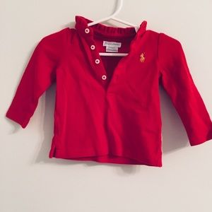 EUC Ralph Lauren long sleeved in red size 6 months